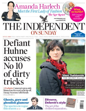 DES Daughter in the Independent on Sunday front cover image