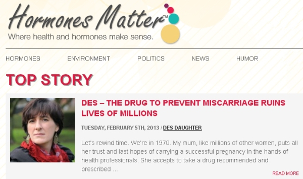 DES Daughter Testimonial Makes Top Story on Hormones Matter Blog