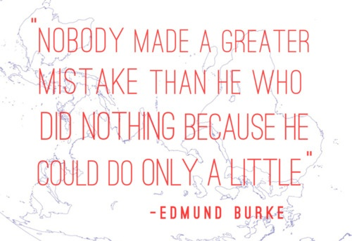""" Nobody made a greater Mistake than he who did nothing because he could only do a little """