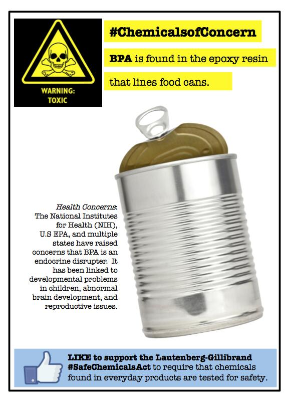 #ChemicalsofConcern Food Cans #BPA poses #Health Risks. We need #SafeChemicalsAct