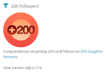 218 total follows on DES Daughter Network blog
