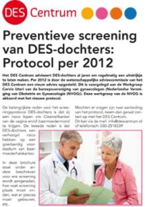 Preventieve screening  van DES-dochters: Protocol per 2012