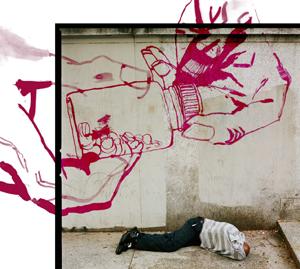 graffitti of drugs tested on homeless