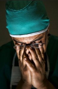 image of an unhappy doctor