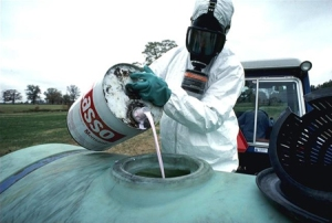image of Monsanto pesticide to be sprayed on food crops