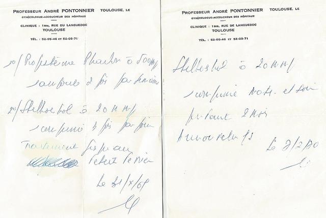image d'ordonnances Stilboestrol 1967-1970