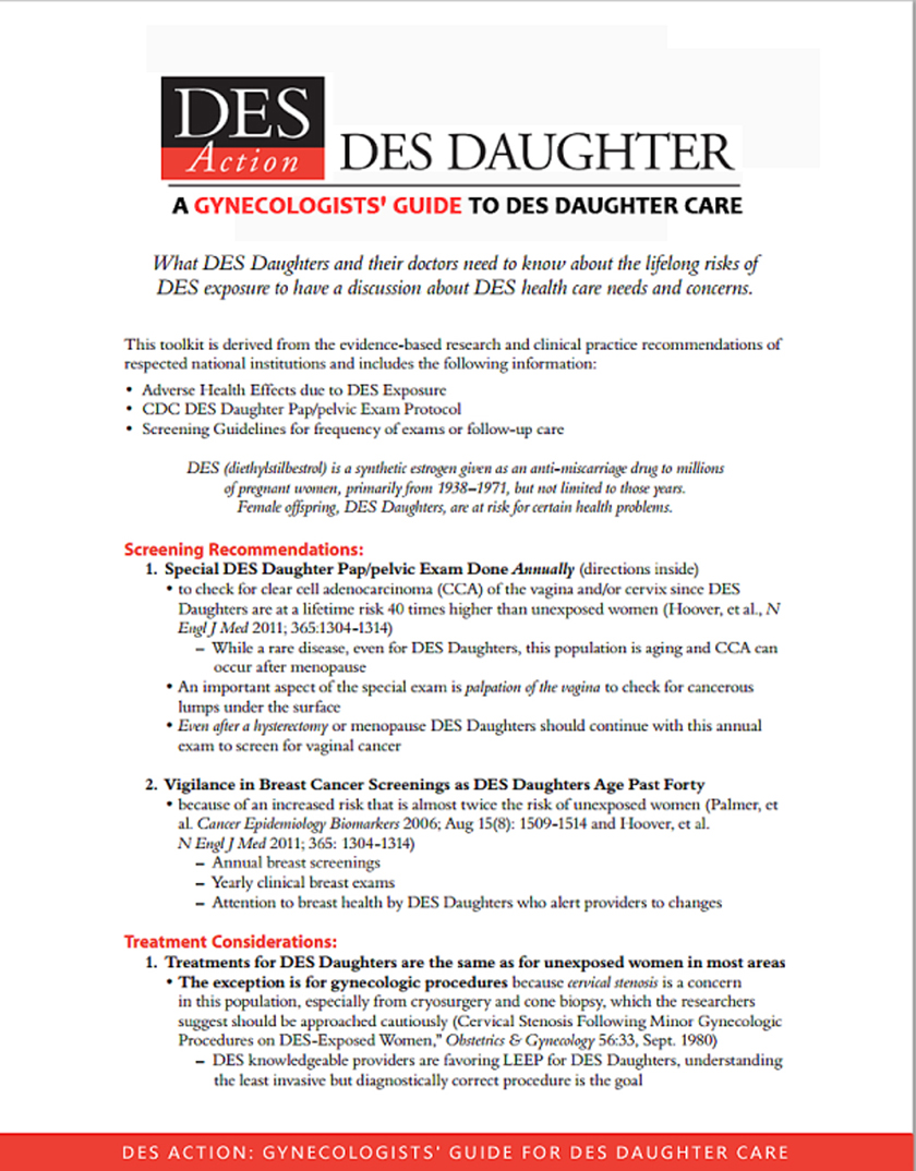A Gynecologists' Guide to DES Daughter Care